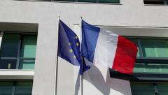 French and European flags Stock Footage