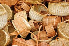Background of baskets for shopping and other household needs Stock Photos