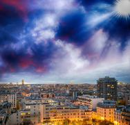 paris, france. wonderful city aerial view at winter sunset - stock photo