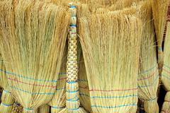 brooms cleaning equipment background - stock photo