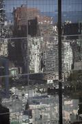 Distorted reflections of city skyscraper  in Melbourne, Victoria, Australia Stock Photos