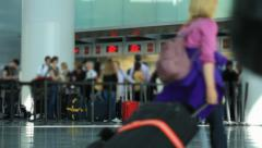 Airport Travelers Check-in Area Stock Footage