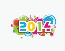 Happy New Year 2014 celebration background. - stock illustration