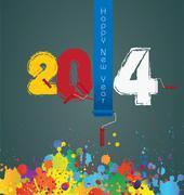 Stock Illustration of Happy New Year 2014 celebration background.