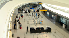 Airport Travelers Time Lapse Tilt Shift Stock Footage