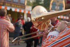 brass band trumpeter - stock photo