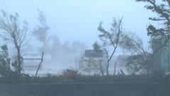 Violent Hurricane Eyewall Winds Lash City Stock Footage