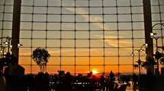 Airport Travelers Time Lapse People Silhouette Sunset Stock Footage