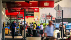 Airport Travelers Time Lapse Arrivals Outside Stock Footage