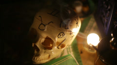 zodiac skull witch craft witchcraft 1 - stock footage