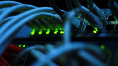LED lights on Ethernet switch working at full strength Stock Footage