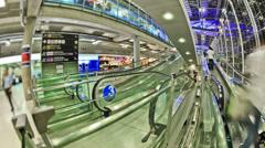 Airport Travelers Time Lapse Bangkok Fisheye Stock Footage