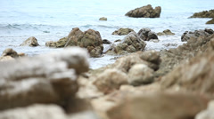 Rock erosion on the shore Stock Footage