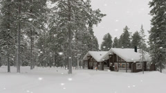 Beautiful snow-covered log cabin in a forest - stock footage