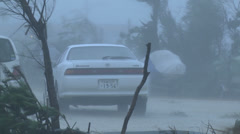 Hurricane Violent Eye Wall Winds Bounce Car Stock Footage
