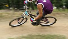Dynamic fast BMX circuit race performed by 2 riders, competition Stock Footage