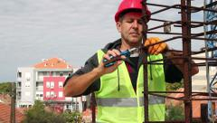 Construction Worker in Action With Combination Pliers - stock footage