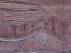 Native Indian rock art pictograph damaged by graffiti Stock Photos