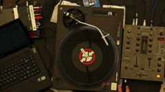 Playing DJ launching platter performing set equipment night club Stock Footage
