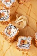 Sesame sushi rolls Stock Photos