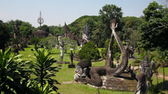 Buddha Park in Vientiane, Laos Stock Footage