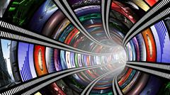 Wormhole with video wall Stock Illustration