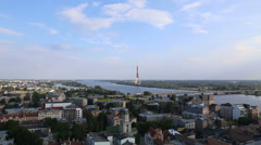 Riga Latvia capital city view from roof - stock footage