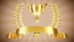 Gold cup with laurel wreath- Stock Video - stock footage