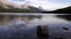 Maligne Lake and Mountains Stock Footage