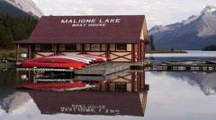 Maligne Lake Boat House Stock Footage