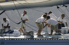 Crew Working On Sailboat - stock photo