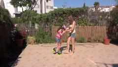 Sisters rollerblades Stock Footage
