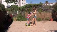 Stock Video Footage of sisters rollerblades