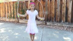Little Girl Jump Roping Stock Footage