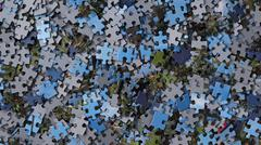 Pieces of jigsaw puzzle / background Stock Photos
