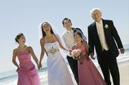 Bride and Groom with family on beach (portrait) Stock Photos