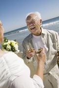 Senior newly weds toasting champagne at beach - stock photo