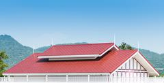 Red roof contemporary thai home stly Stock Photos