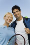 Mixed doubles tennis players portrait - stock photo
