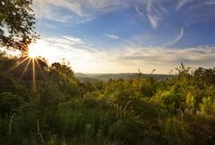 Sunset at a view looking out towards new lebanon, new york Stock Photos