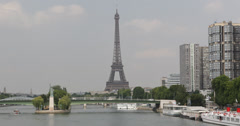 Ultra HD 4K Eiffel Tower Paris Office Towers Isle of the Swans Liberty Statue Stock Footage