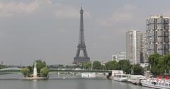 Ultra HD 4K Famous Eiffel Tower Paris Cityscape Parisian Tour Boat Stock Footage