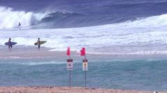 Dangerous Waves Honolulu, Oahu, Hawaii, Pipeline Surfers , Slow Motion, 240 fps Stock Footage