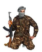 Arab nationality in camouflage suit and keffiyeh with automatic gun on white Stock Photos