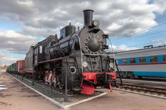 Old steam locomotive in railway museum Stock Photos