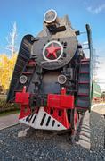 Soviet long-haul passenger locomotive 50-ies of the xx century Stock Photos