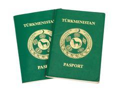 Two turkmenistan passports isolated on white background Stock Photos