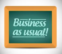 business as usual message on a wood chalkboard - stock illustration