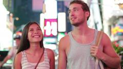 Dating couple in love, Times Square, New York City Stock Footage