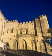avignon, palais des papes by night - stock photo